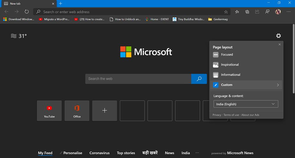 Microsoft Edge Page layout custom settings