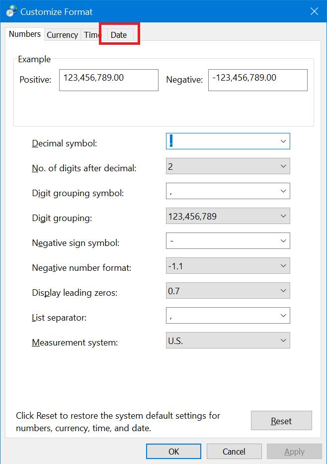 customize format