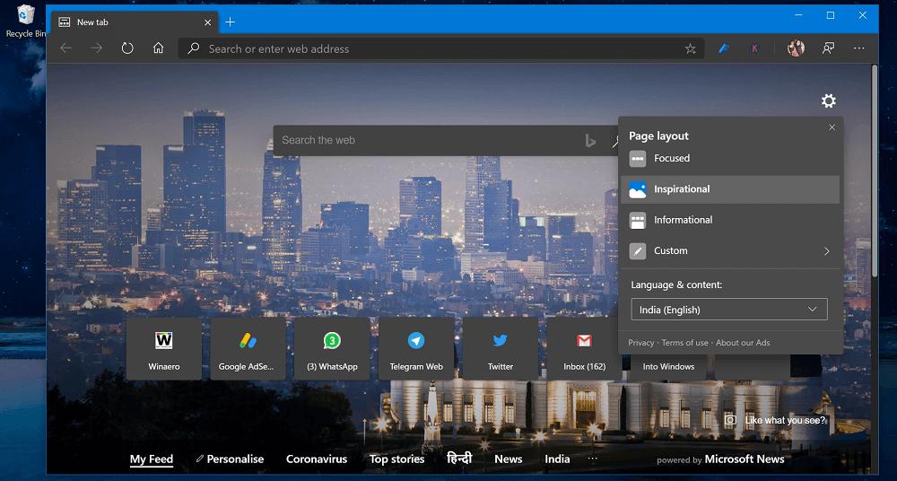 customize new tab page edge