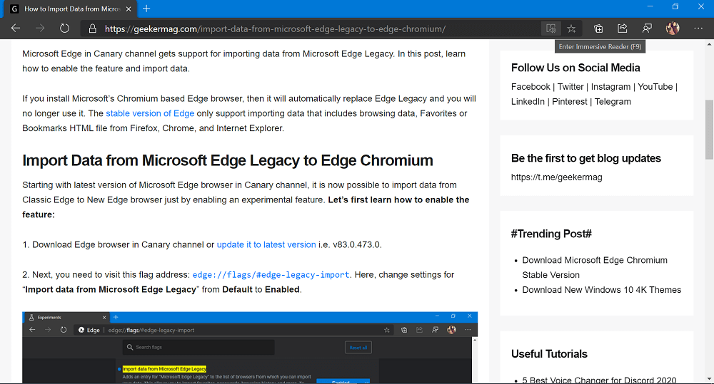 enter immersive mode in microsoft edge