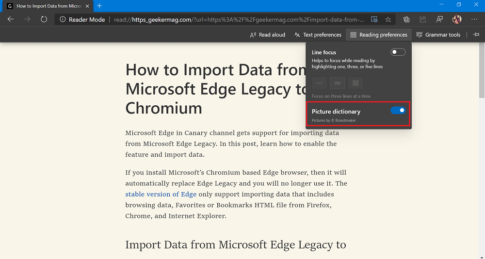 Picture dictionary in reading preference in immersive reader in microsoft edge
