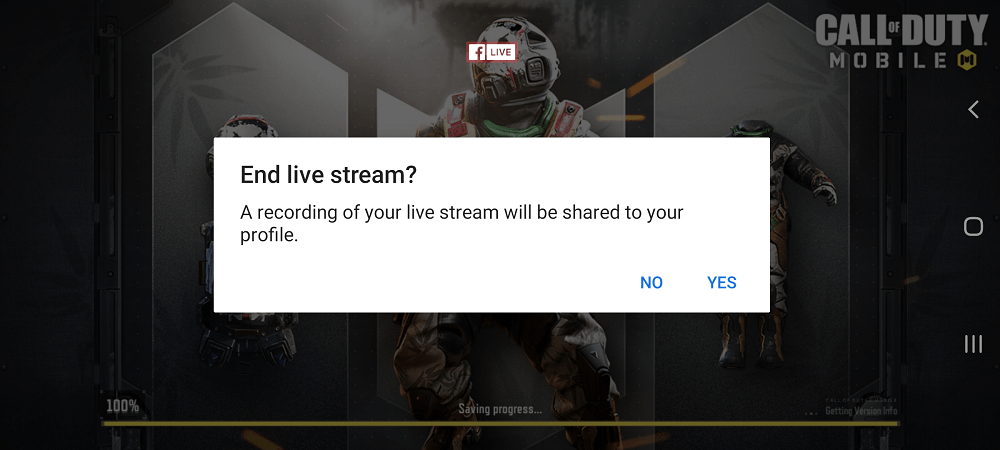 facebook gaming app - end live stream