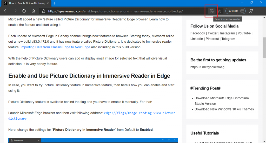 use picture dictionary in Microsoft edge