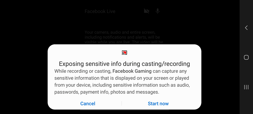 Exposing sensitive information during casting/recording appear