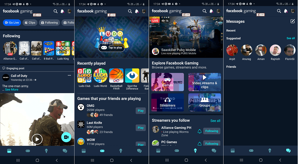 facebok gaming app features