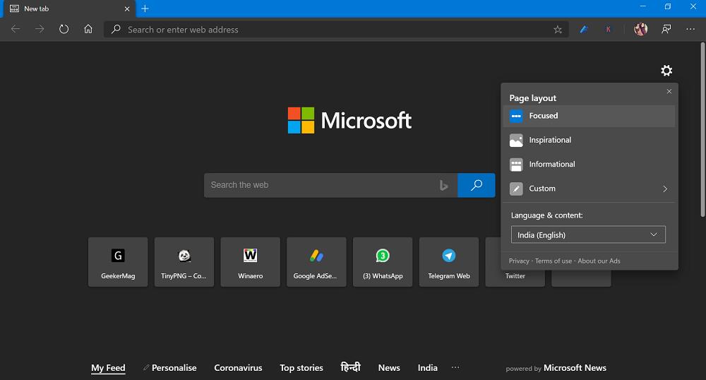 Microsoft Edge New Tab Page Focused Layout