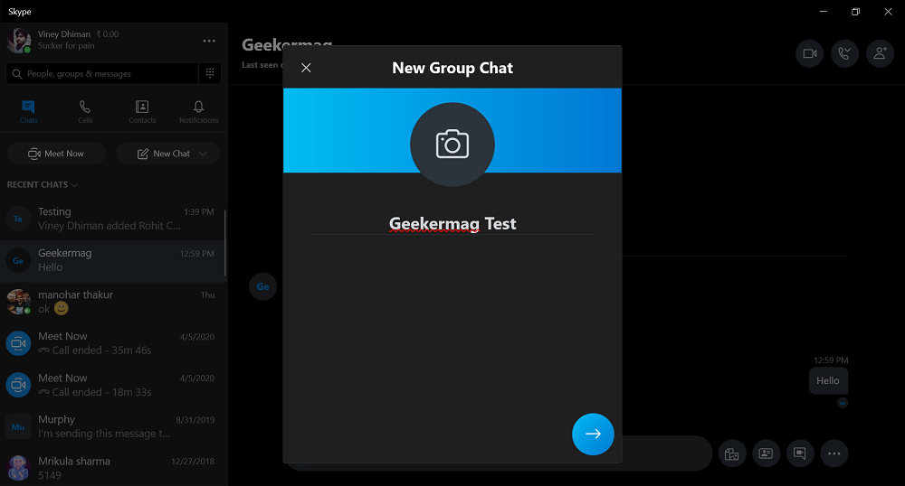 add name to group chat in skype