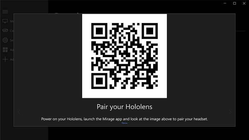 holoscreen mirage app for hololens 2