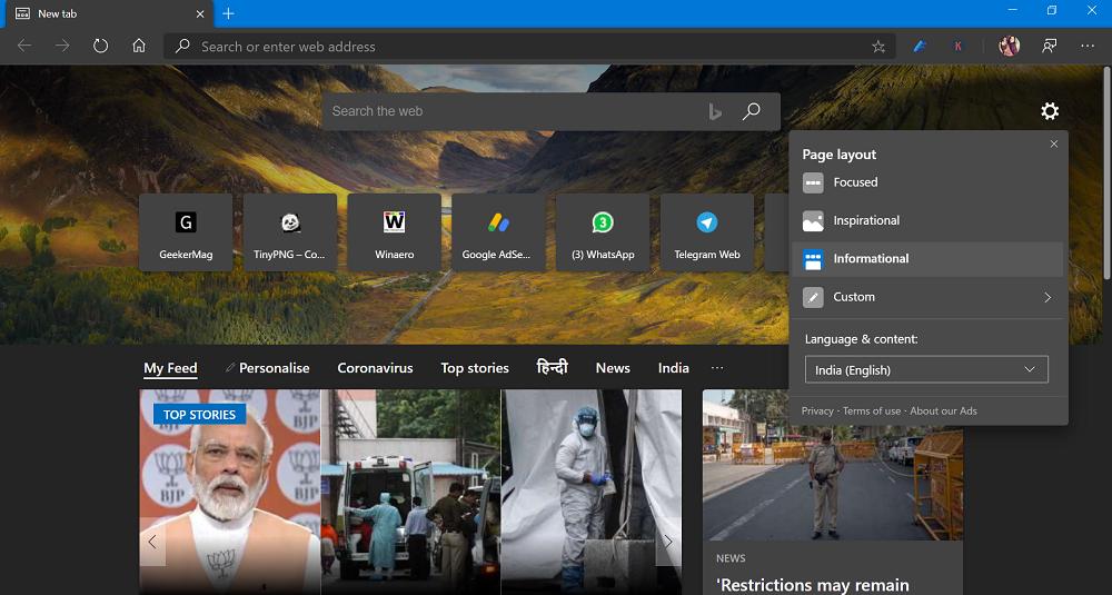 Microsoft Edge New Tab Page Informational Layout