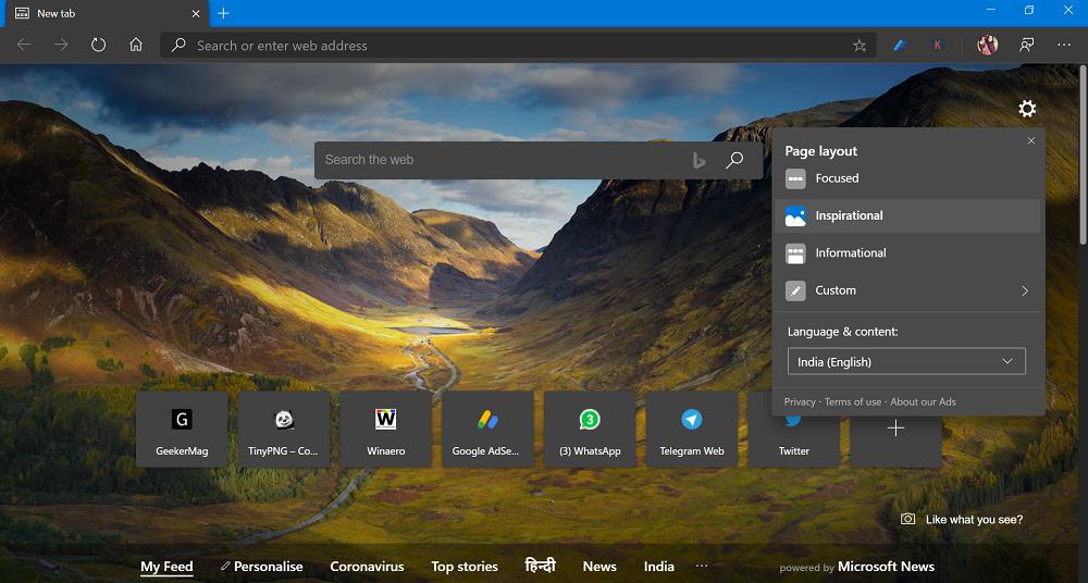 Microsoft Edge New Tab Page Inspirational Layout