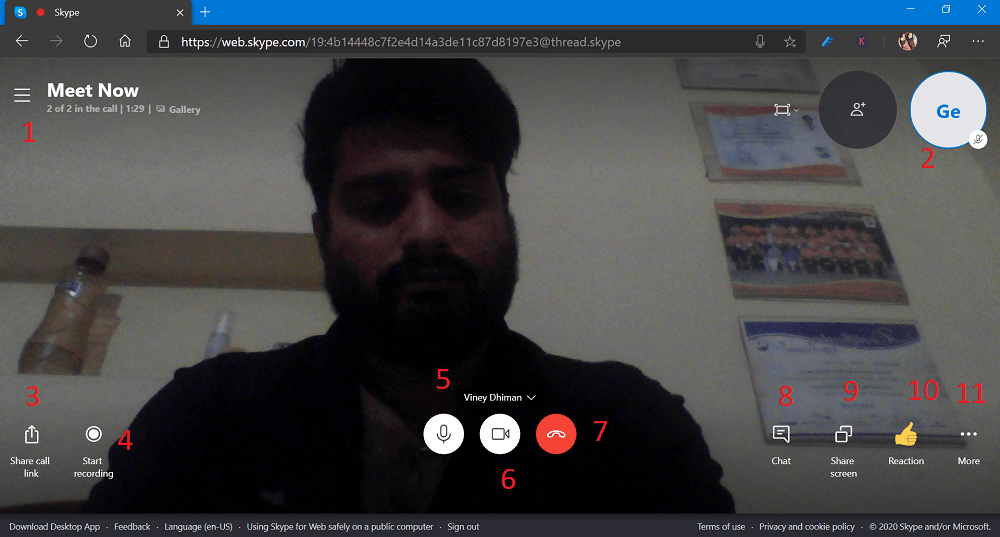skype meet now video conferencing user interface