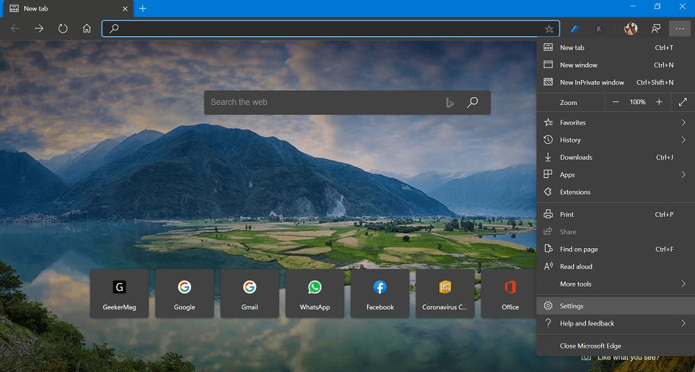Microsoft Edge Settings menu