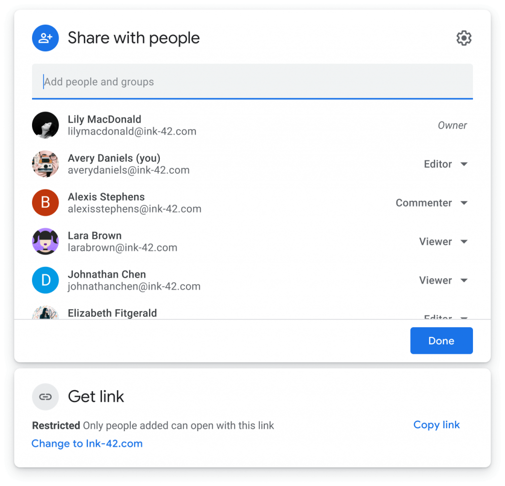 The new sharing interface for Google Drive and Docs editors files