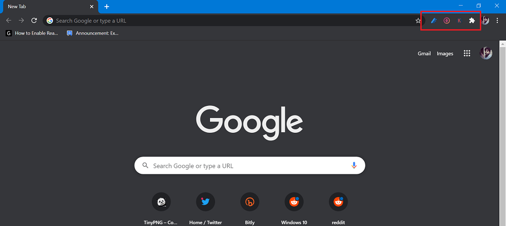 Google Chrome Toolbar Menu