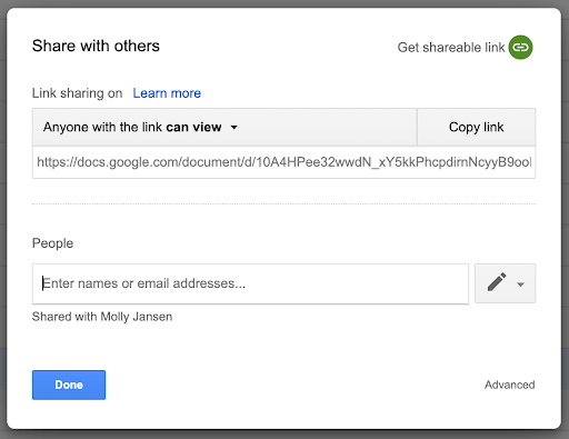 The old sharing interface for Google Drive and Docs editors files