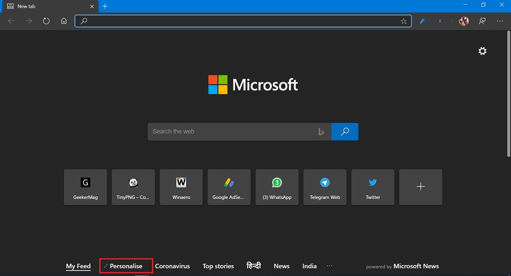 personalize content interest in Microsoft Edge New Tab page