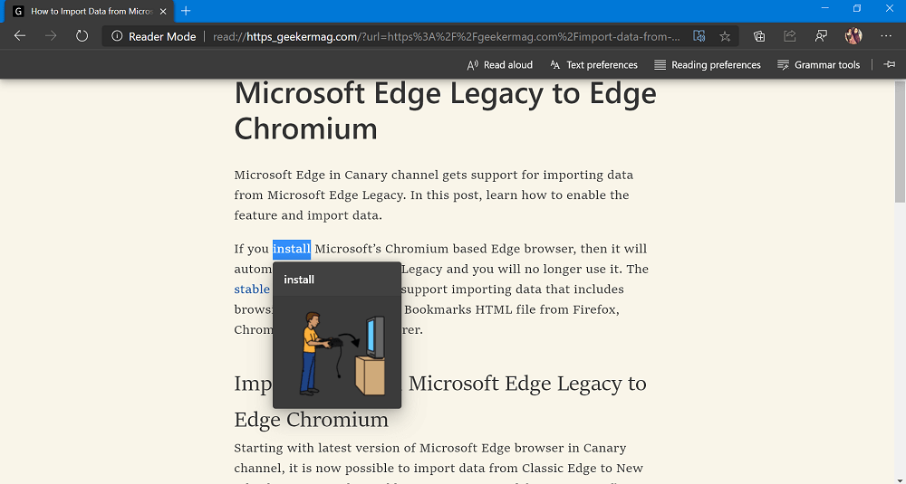 picture dictionary in immsersive reader in edge