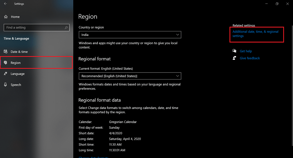 Additional date, time, & regional settings