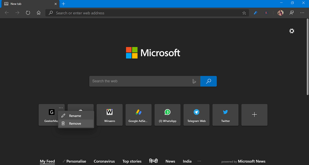 Remove Site Link in New Tab Page in Microsoft Edge