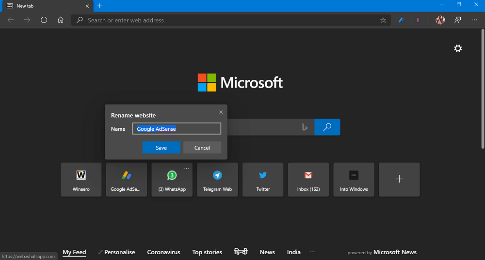 Rename Site Link in New Tab Page in Microsoft Edge