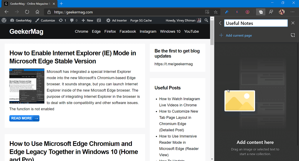 start new collection in edge browser