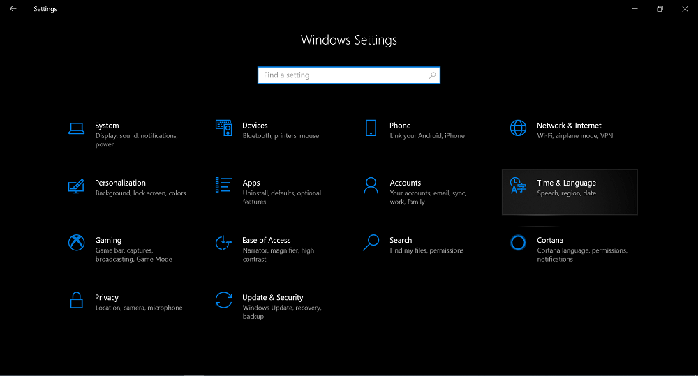 Settings app (Time and language)
