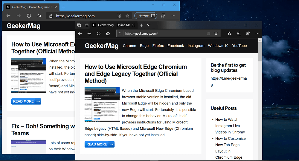 How to Use Microsoft Edge Chromium and Edge Legacy Together (Official Method)