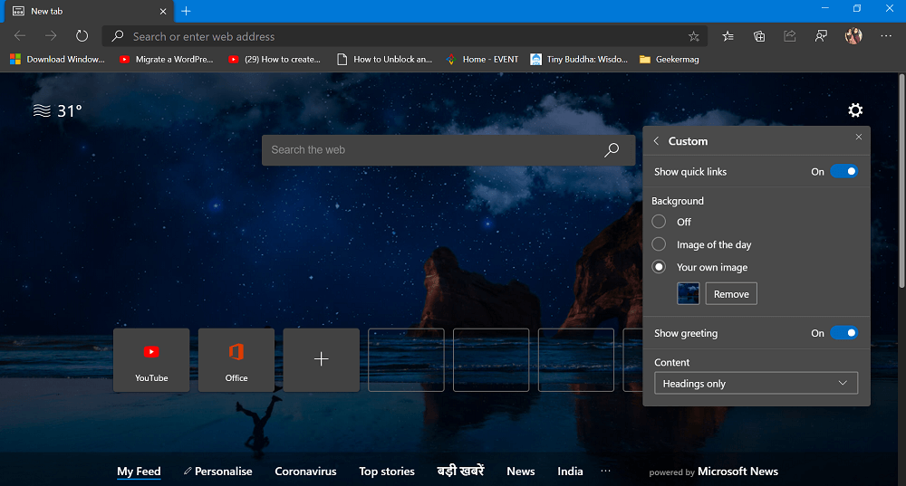 set custom background in new tab page in edge