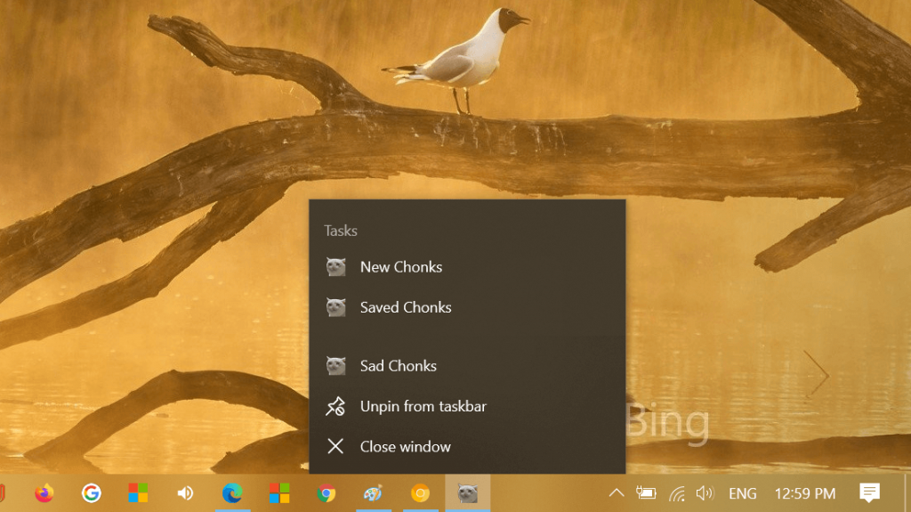 Chrome PWA app icon shortcut menu in windows 10
