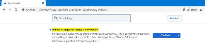 Omnibox Suggestion Transparency flag in chrome