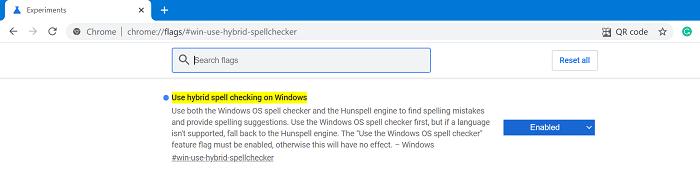 Use hybrid spell checking on Windows flag in chrome