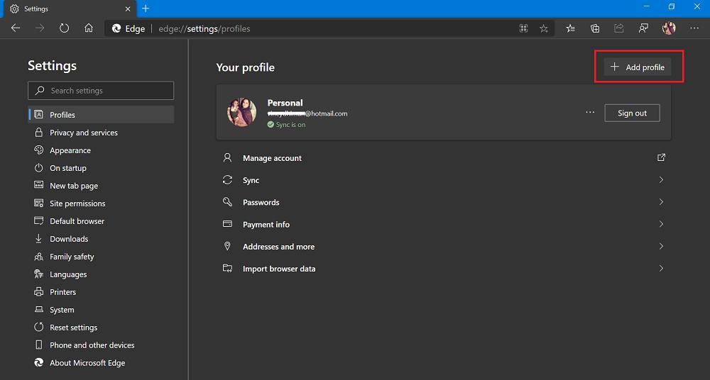 add profile settings 1