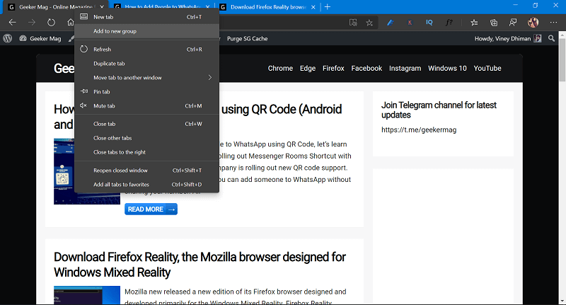 add to new tab group in microsoft edge