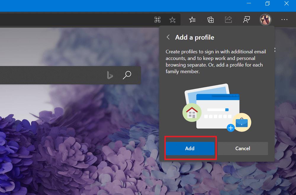 add a profile dialog box in microsoft edge