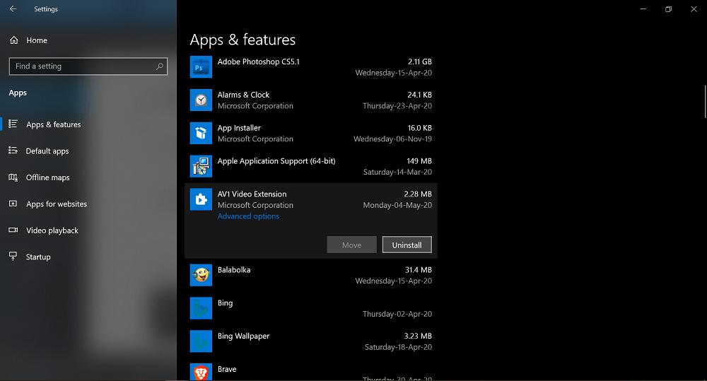 remove av1 video extension from Windows 10