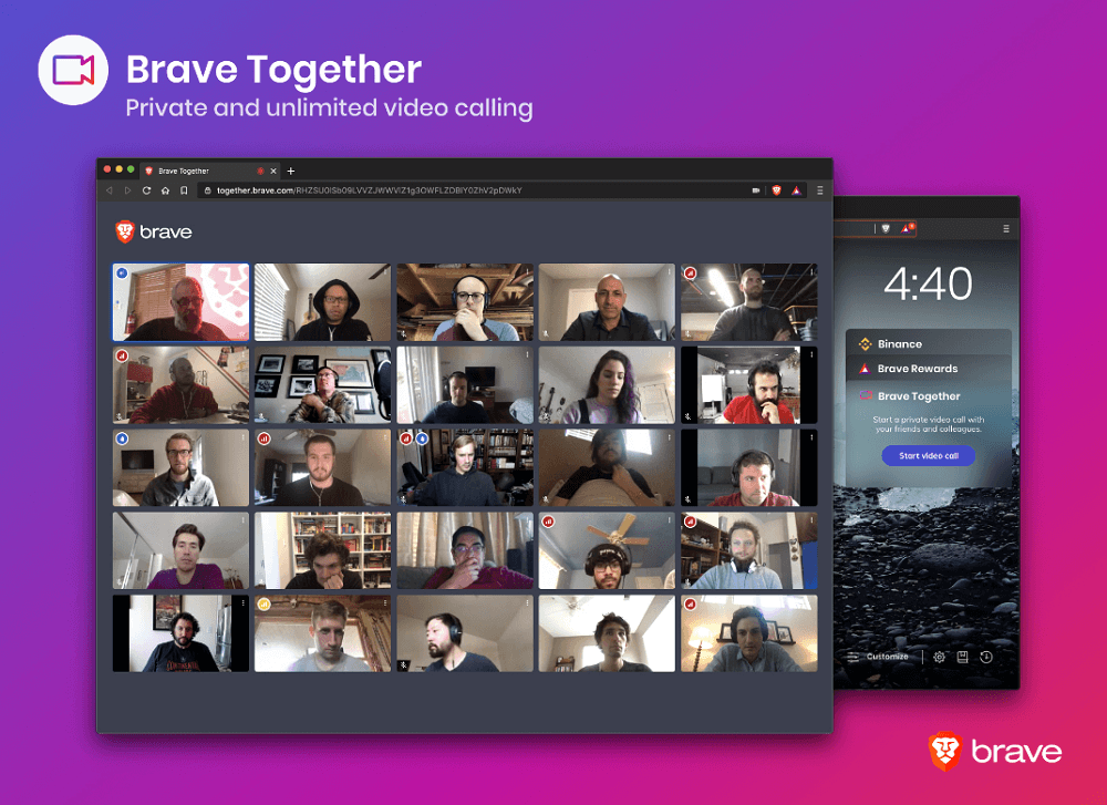 How to Make Unlimited Private Videos Calls using Brave Together in Brave browser