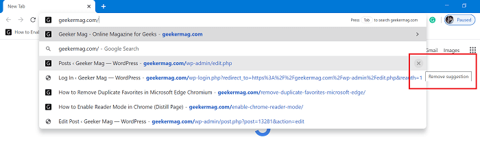remove suggestion from chrome address bar