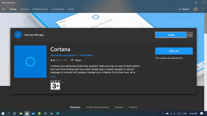 Install Cortana app on windows 10 from Microsoft Store