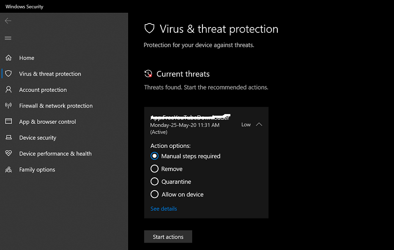 current threats level in windows defender in windows 10