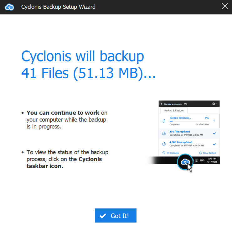cyclonis backup data