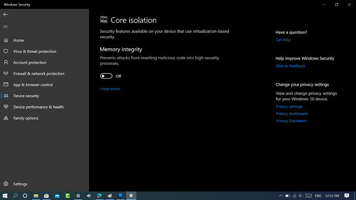 Disable Memory integrity in windows 10