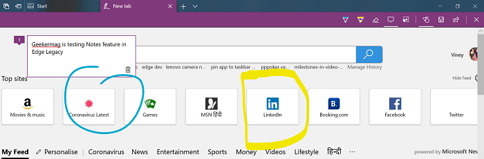 add notes in microsoft edge legacy