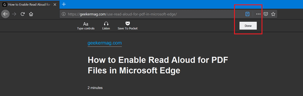 Exit reader mode in firefox ui 2020