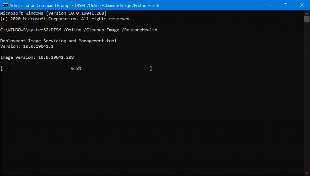 repairing Windows 10 System image using DISM tool