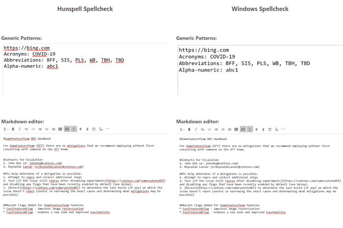 hunspell spellcheck v windows spellcheck