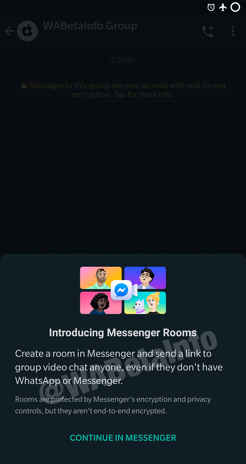 whatsapp introducing messenger rooms