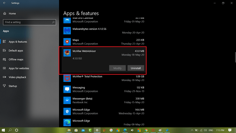 uninstall McAfee Advisor app from windows 10
