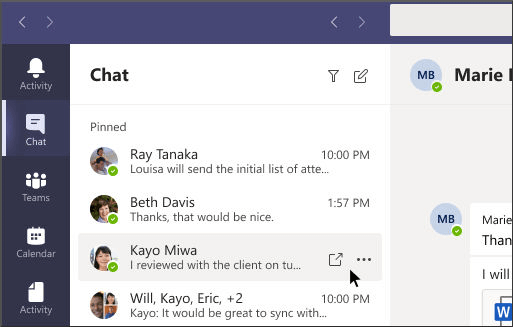 team multi-window chat feature