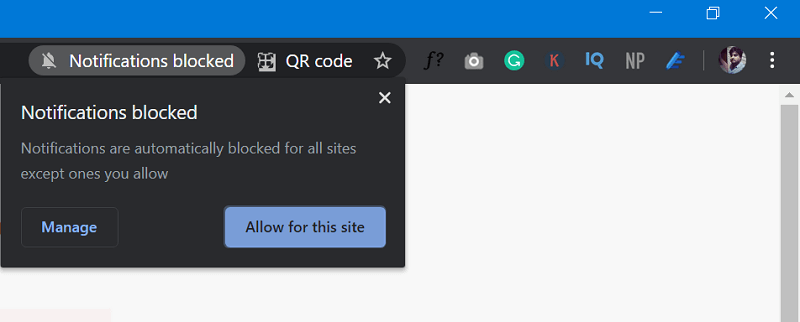 Chrome notifications blocked
