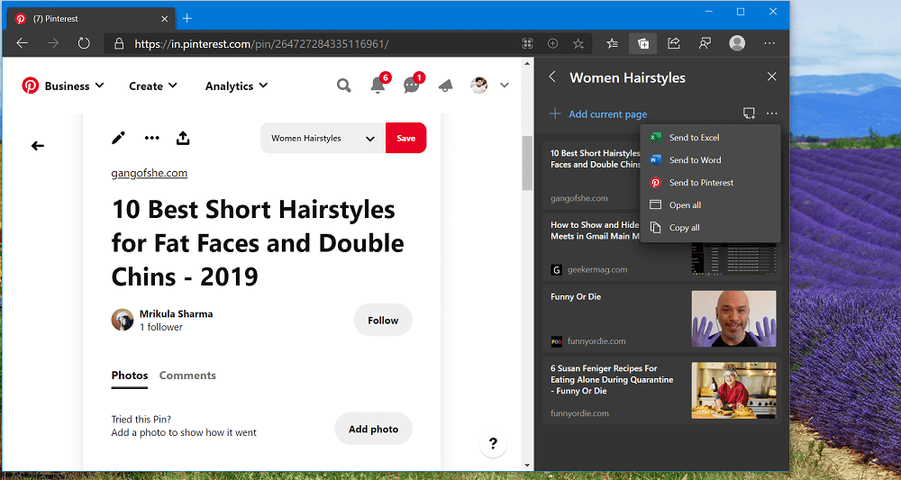 How to Show suggestions from Pinterest in Microsoft Edge Collections